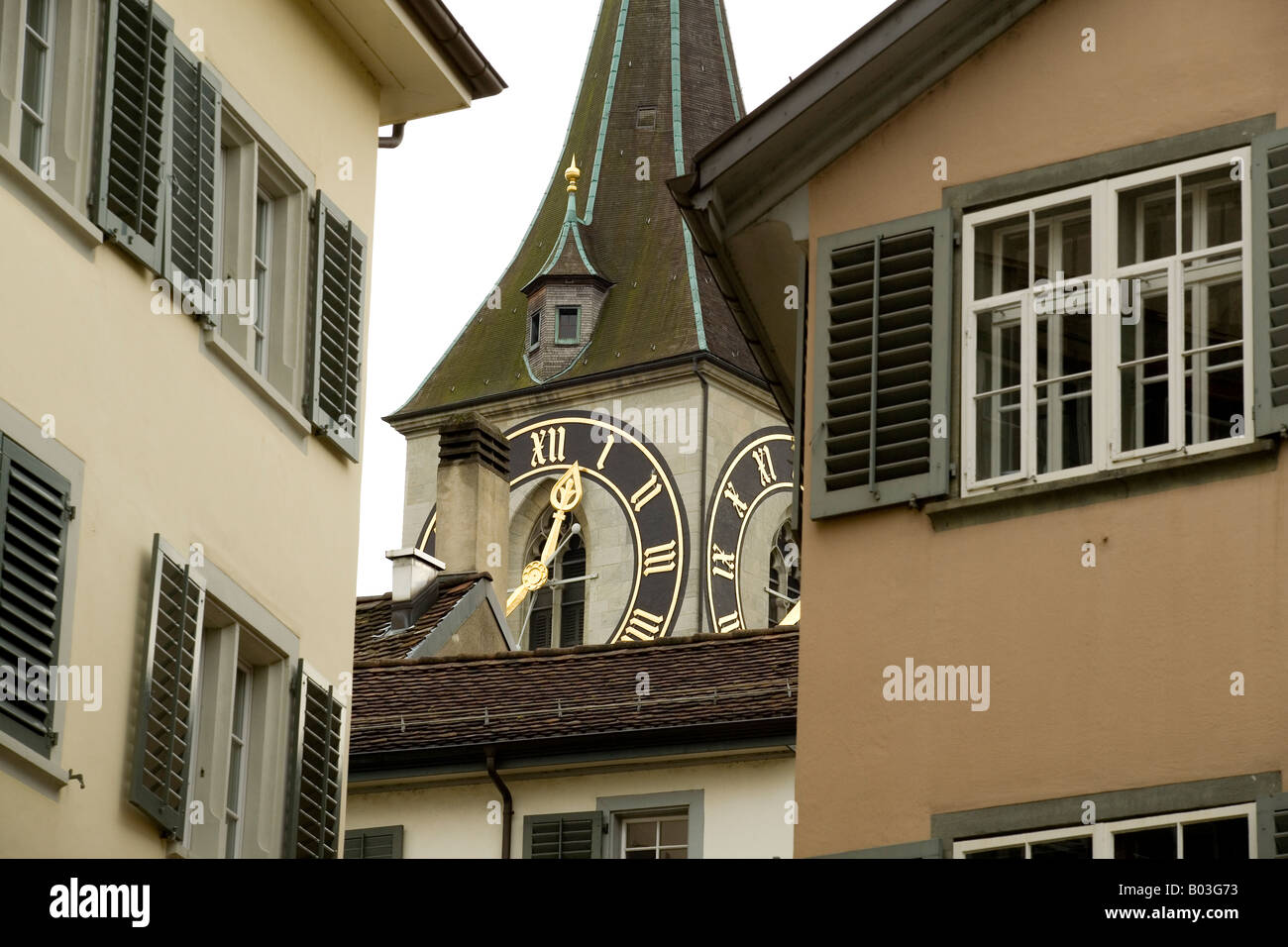 clock face of St Peter's church in Zurich which is the largest clock face in Europe - Stock Image