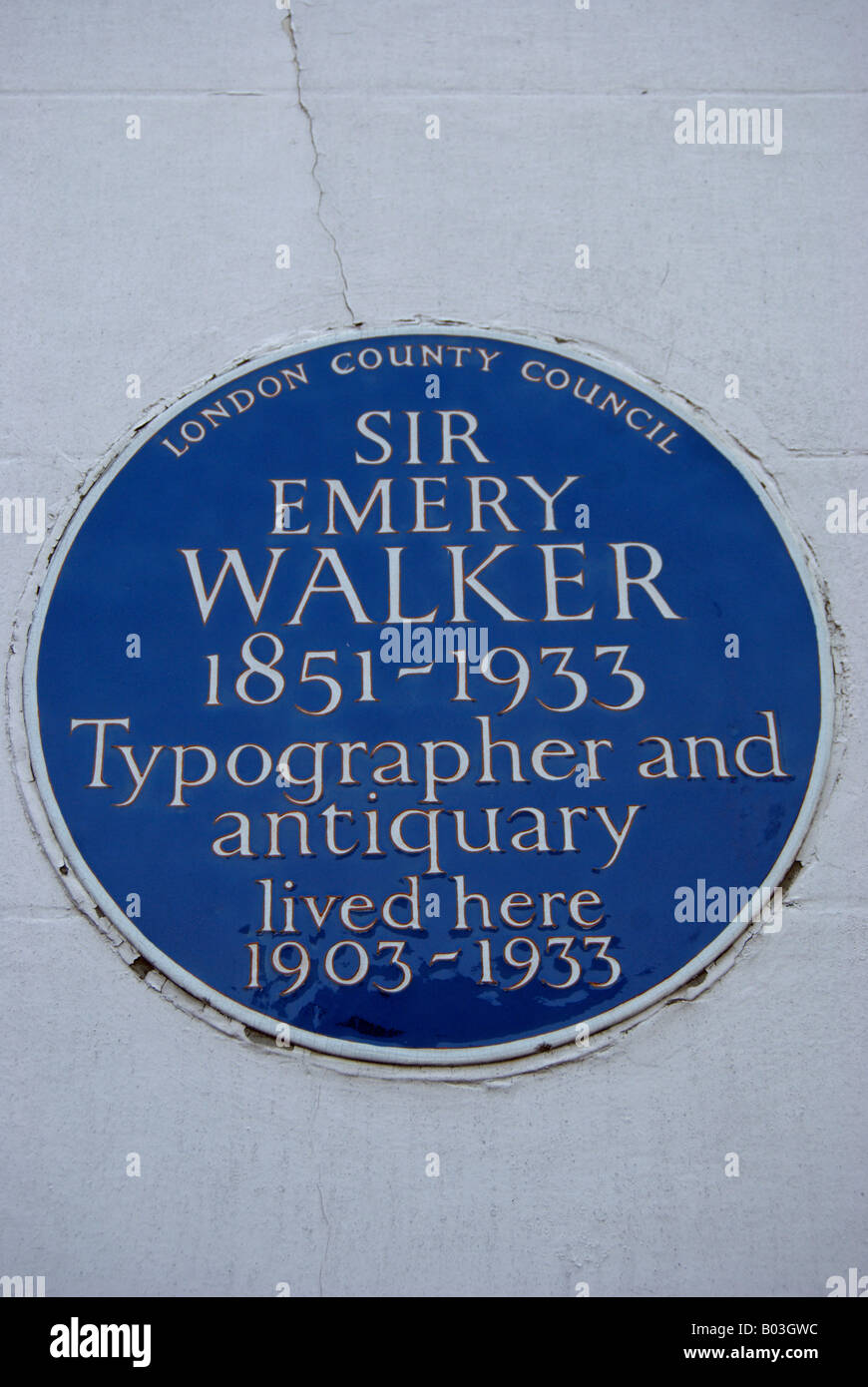 london county council blue plaque marking a former home of sir emery walker, in hammersmith terrace, west london, - Stock Image