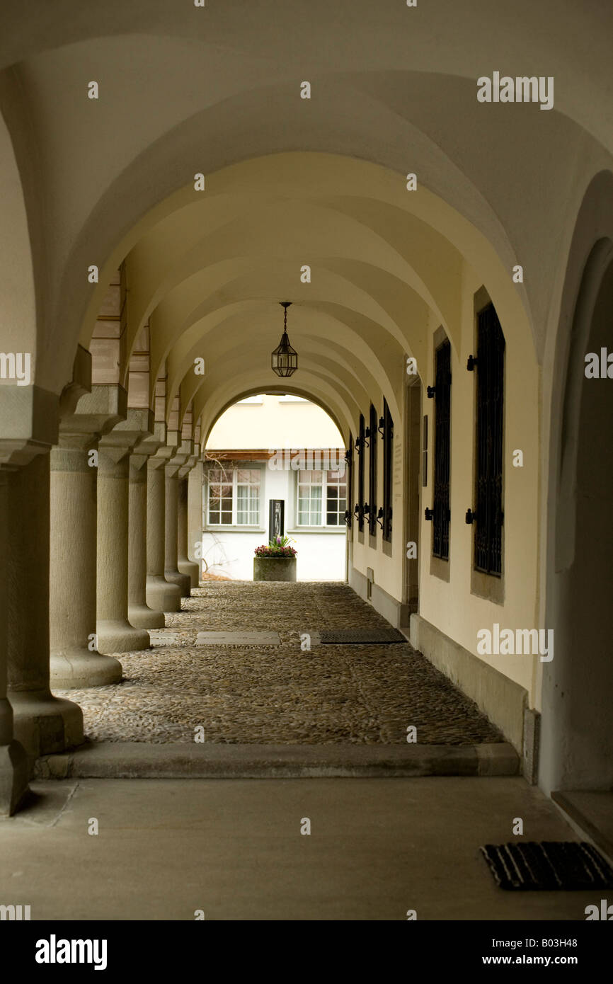 walkway in the Old Town of Wil, Switzerland - Stock Image