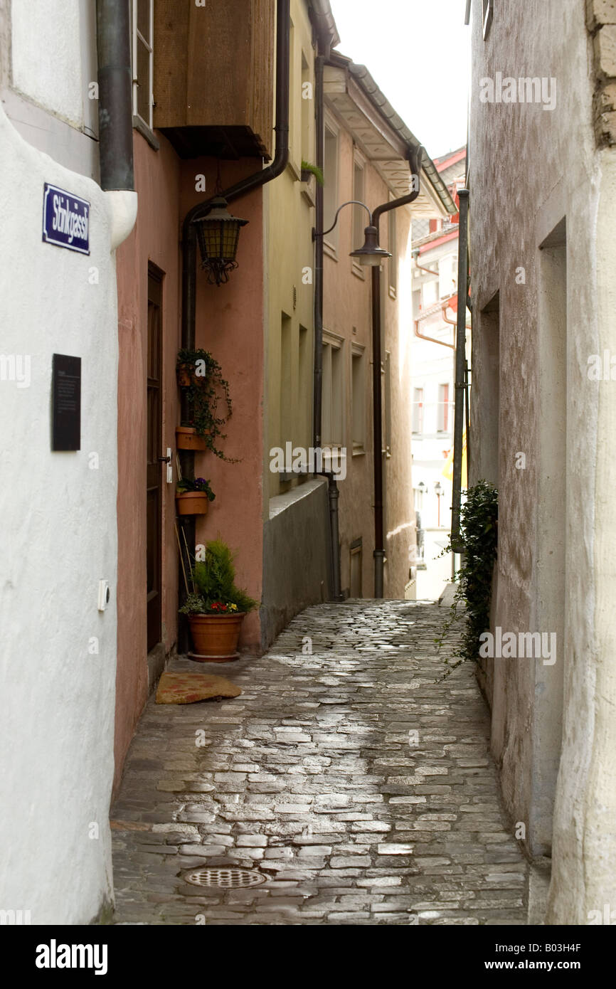 alleyway in the town of Wil, Switzerland - Stock Image