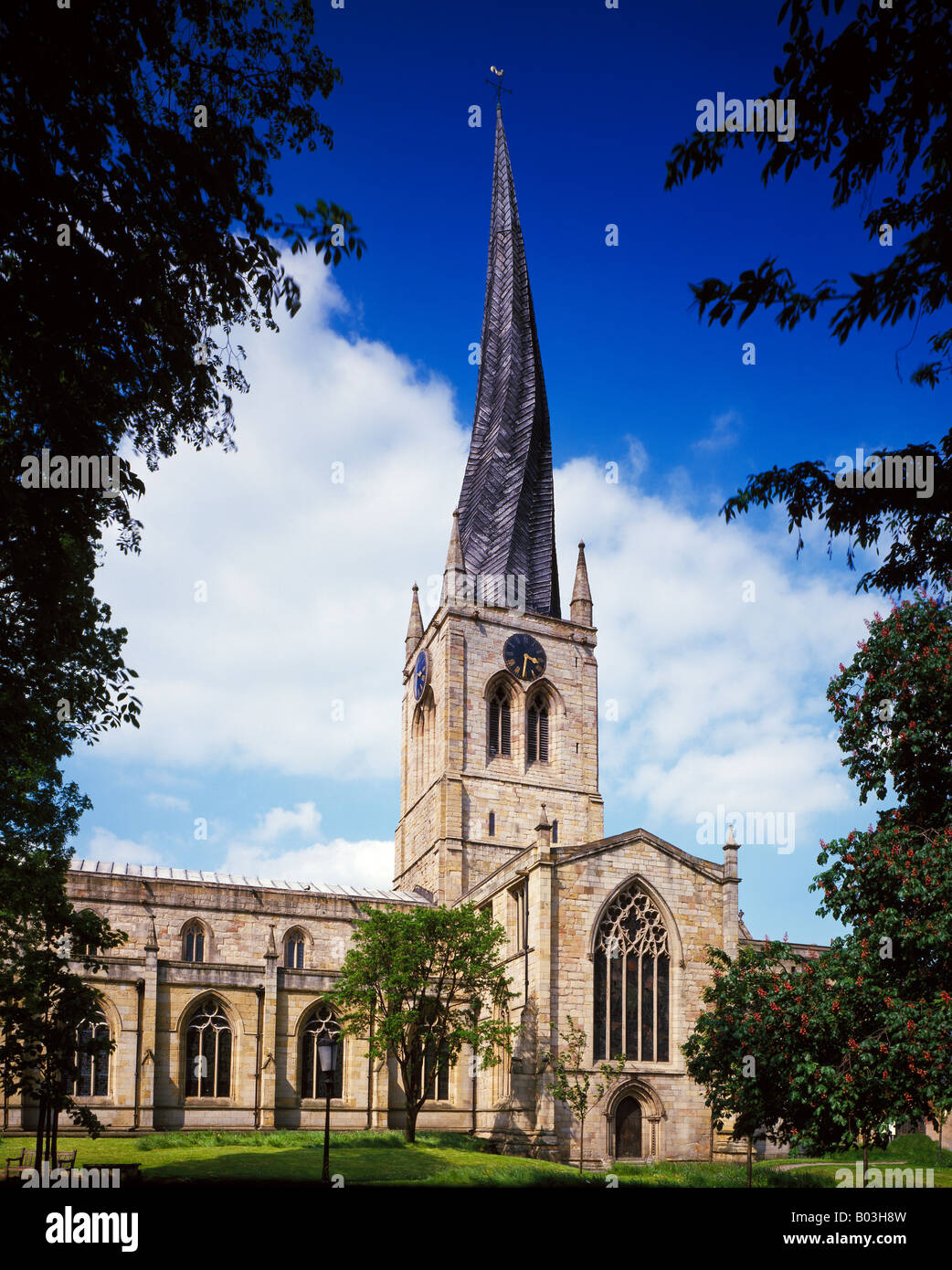 St Mary and All Saints Church Chesterfield Derbyshire England United Kingdom - Stock Image