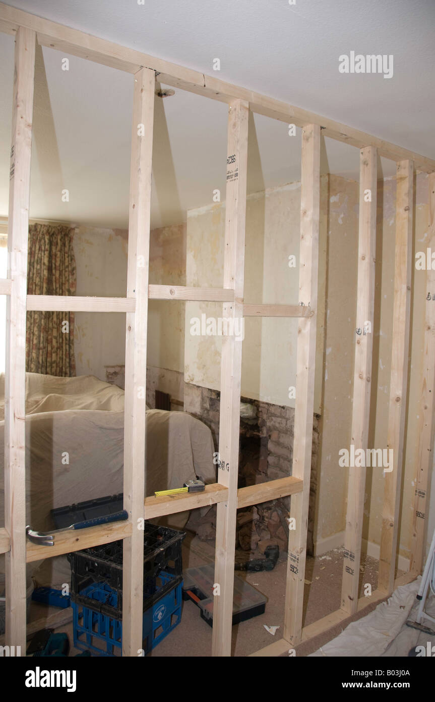 Stud Partition Wall Timber Framework Showing Noggins