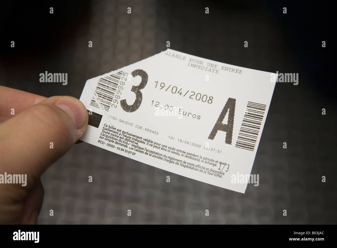 Ticket for the Eiffel Tower Paris France. - Stock Image