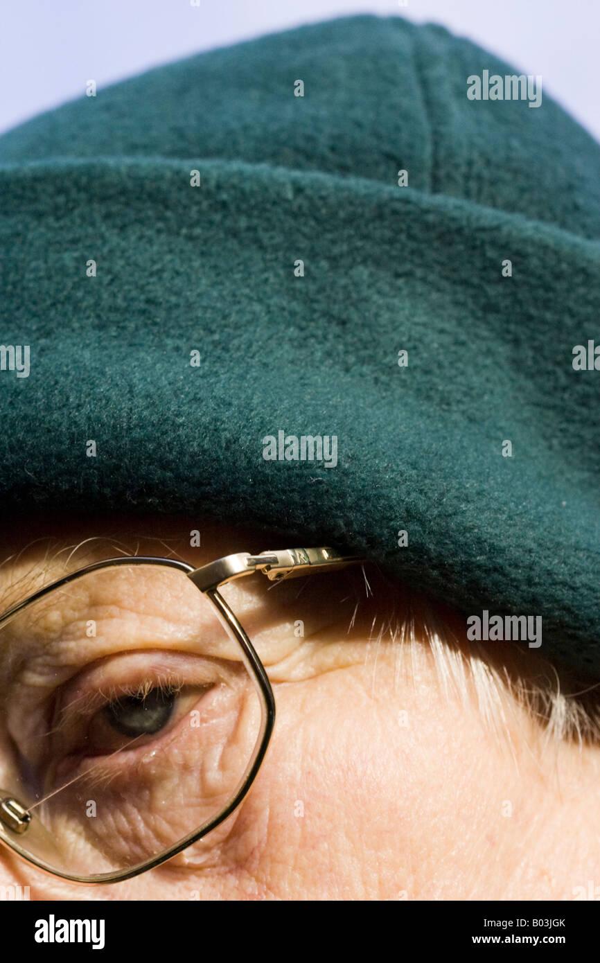 Woman Close-up Eye Glasses - Stock Image