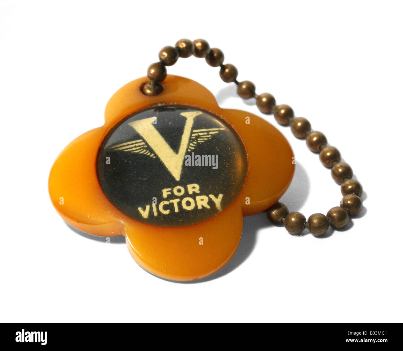 World War II, circa 1940-1945, bakelite 'V for Victory' keychain. - Stock Image