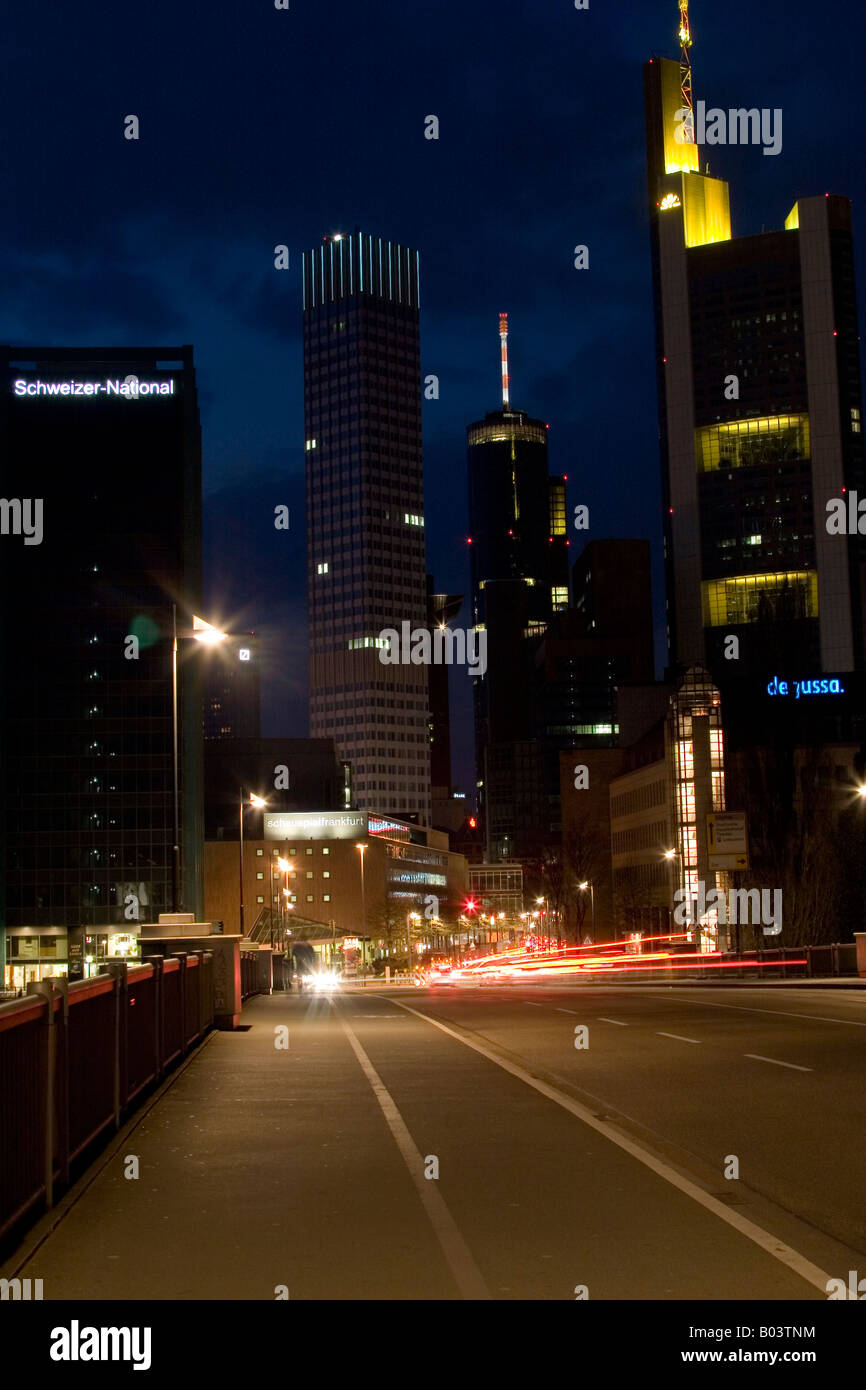 Banking District Frankfurt at Night Germany - Stock Image