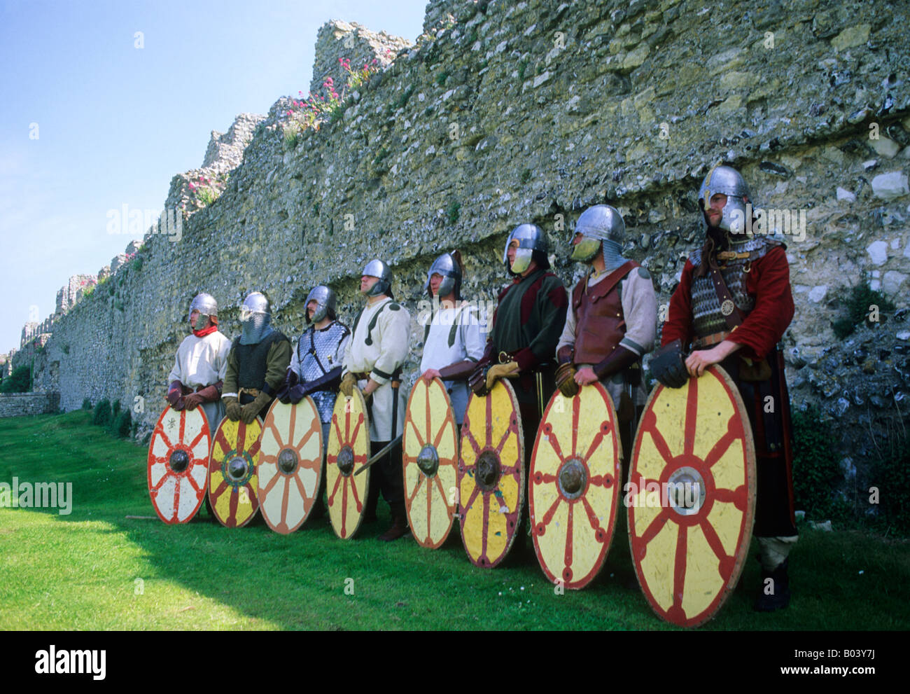 Romano British Saxon Warriors shields armour 5th century English history re-enactment helmets soldiers military - Stock Image