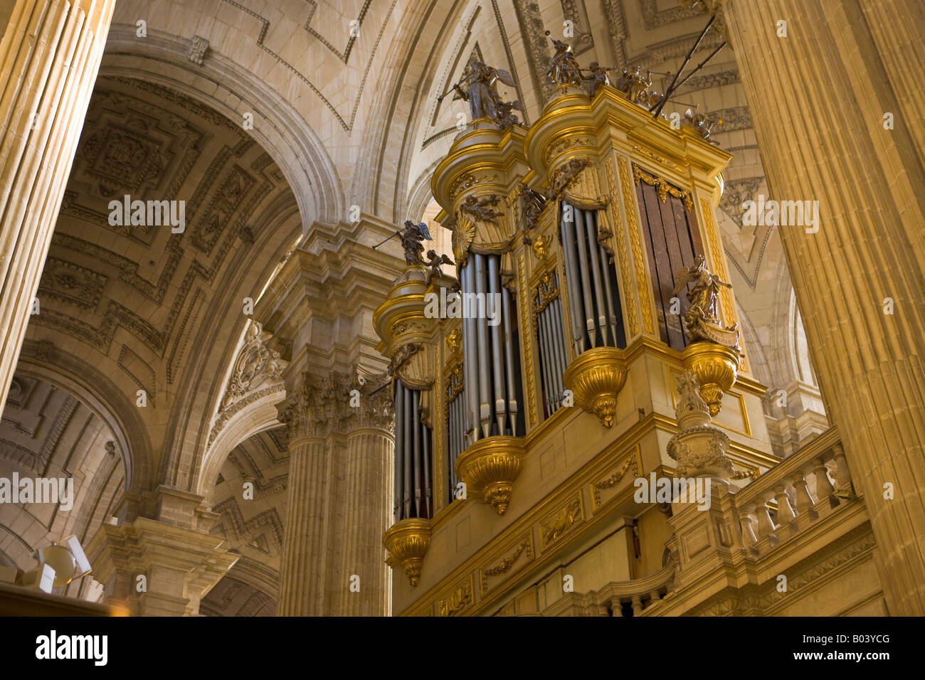 Pipe Organ at the Cathedral of Jaen, Sagrario District, City of Jaen, Province of Jaen, Andalusia (Andalucia), Spain, - Stock Image