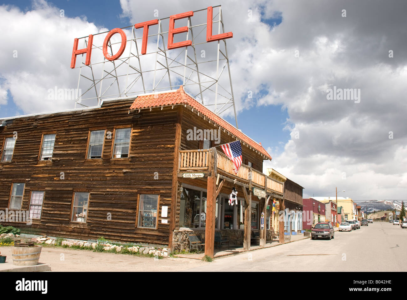 Old hotel on historical street in Fairplay, Colorado, USA - Stock Image