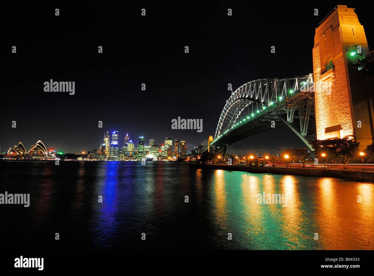 Skyline Sydney at night with Sydney Opera and Harbour Bridge New South Wales Australia - Stock Image