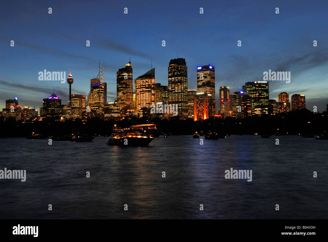 Skyline Sydney in the blue hour Farm Cove Sydney New South Wales Australia - Stock Image