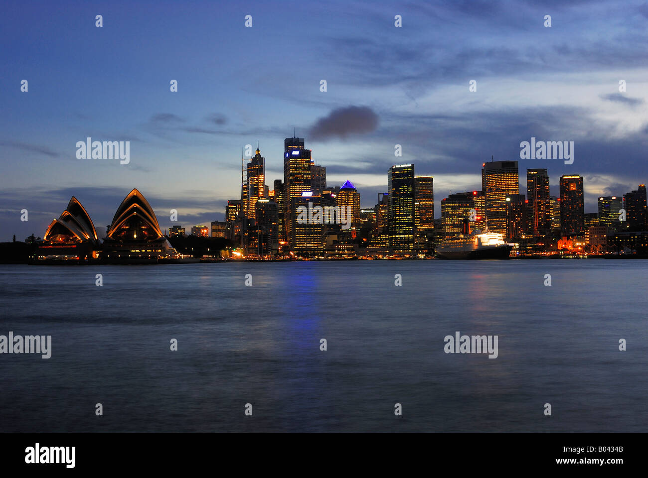 Skyline Sydney with Sydney Opera blue hour New South Wales Australia Stock Photo