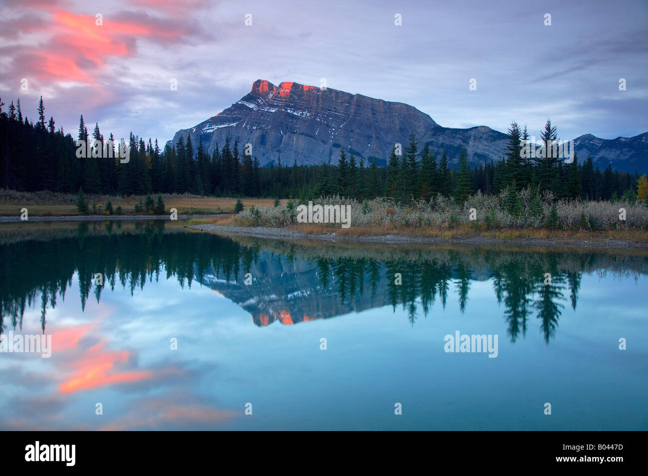 Mount Rundle and Vermillion Lakes, Banff National Park, Alberta, Canada Stock Photo