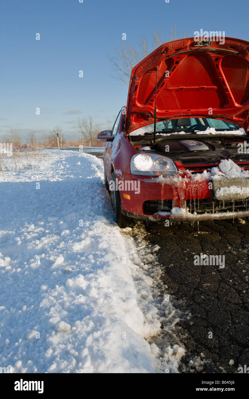 Car Trouble on Winter Country Road Stock Photo