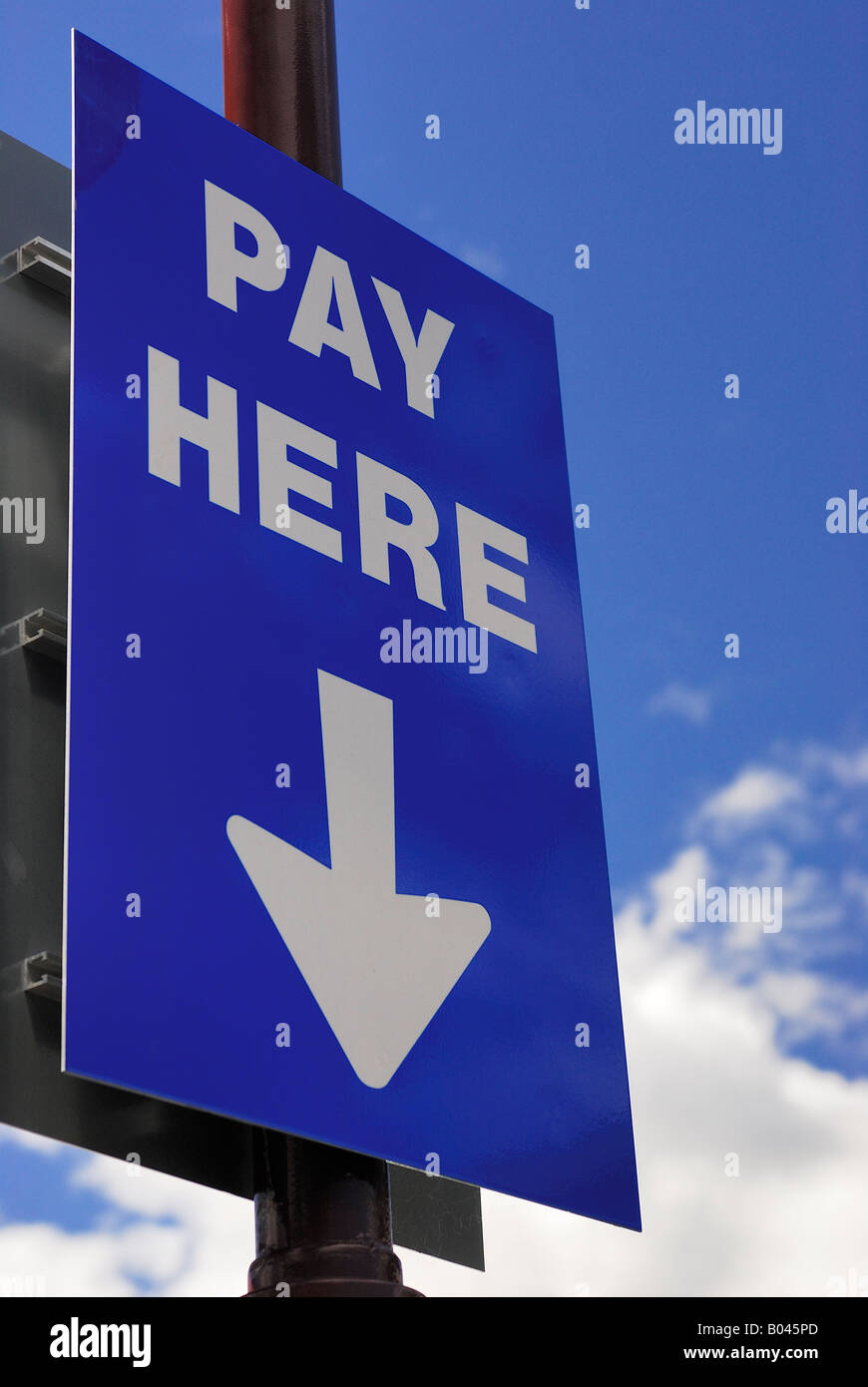Sign Pay here in Car Park Queenstown Central Otago New Zealand Stock Photo