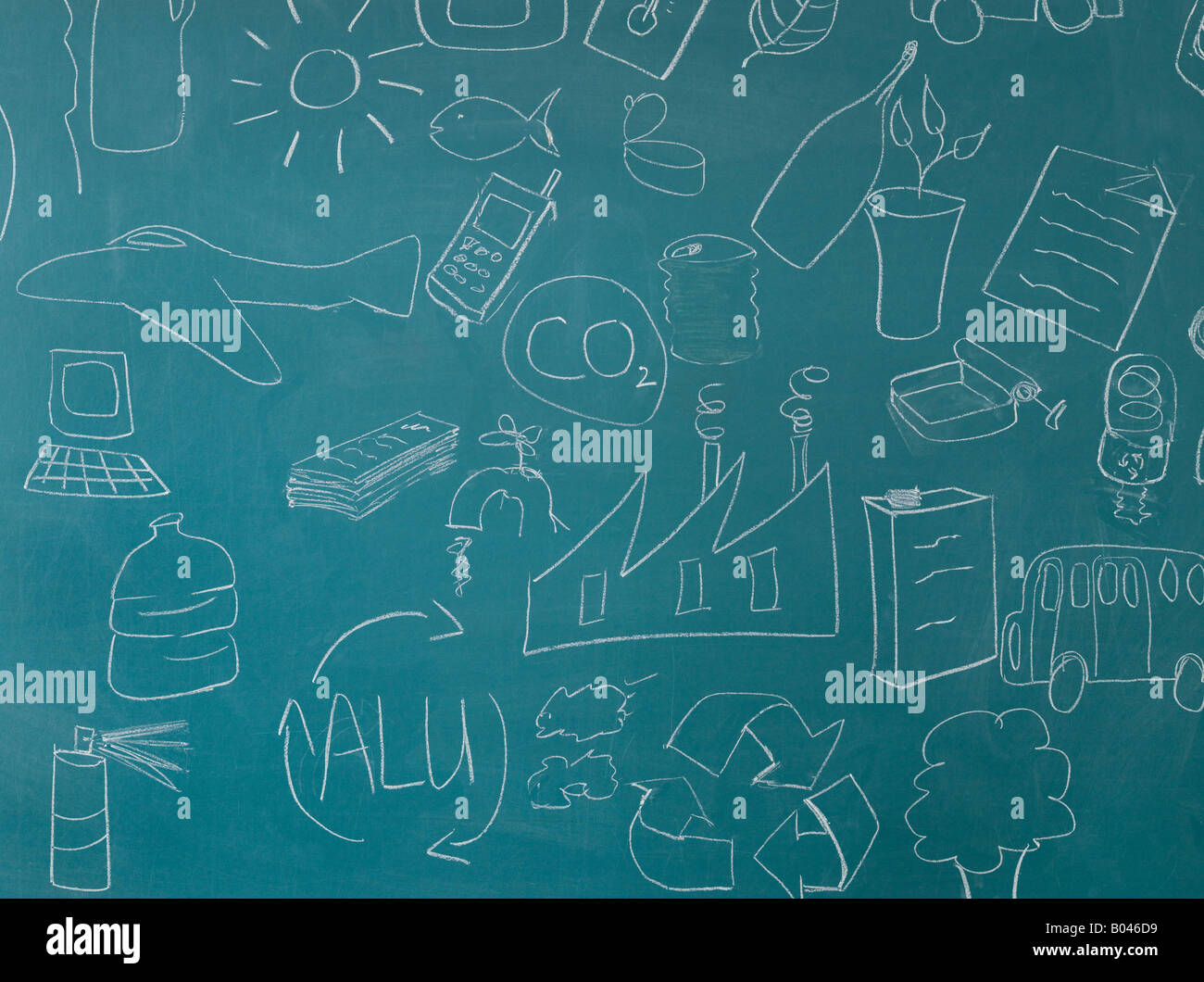 Recycling illustrations on blackboard - Stock Image