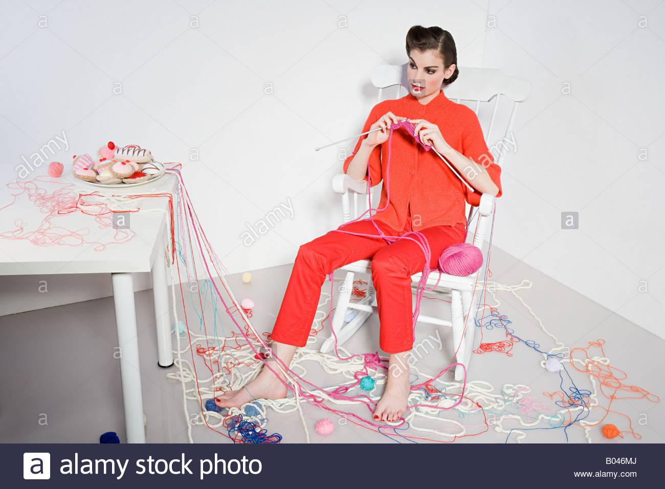 Woman knitting - Stock Image
