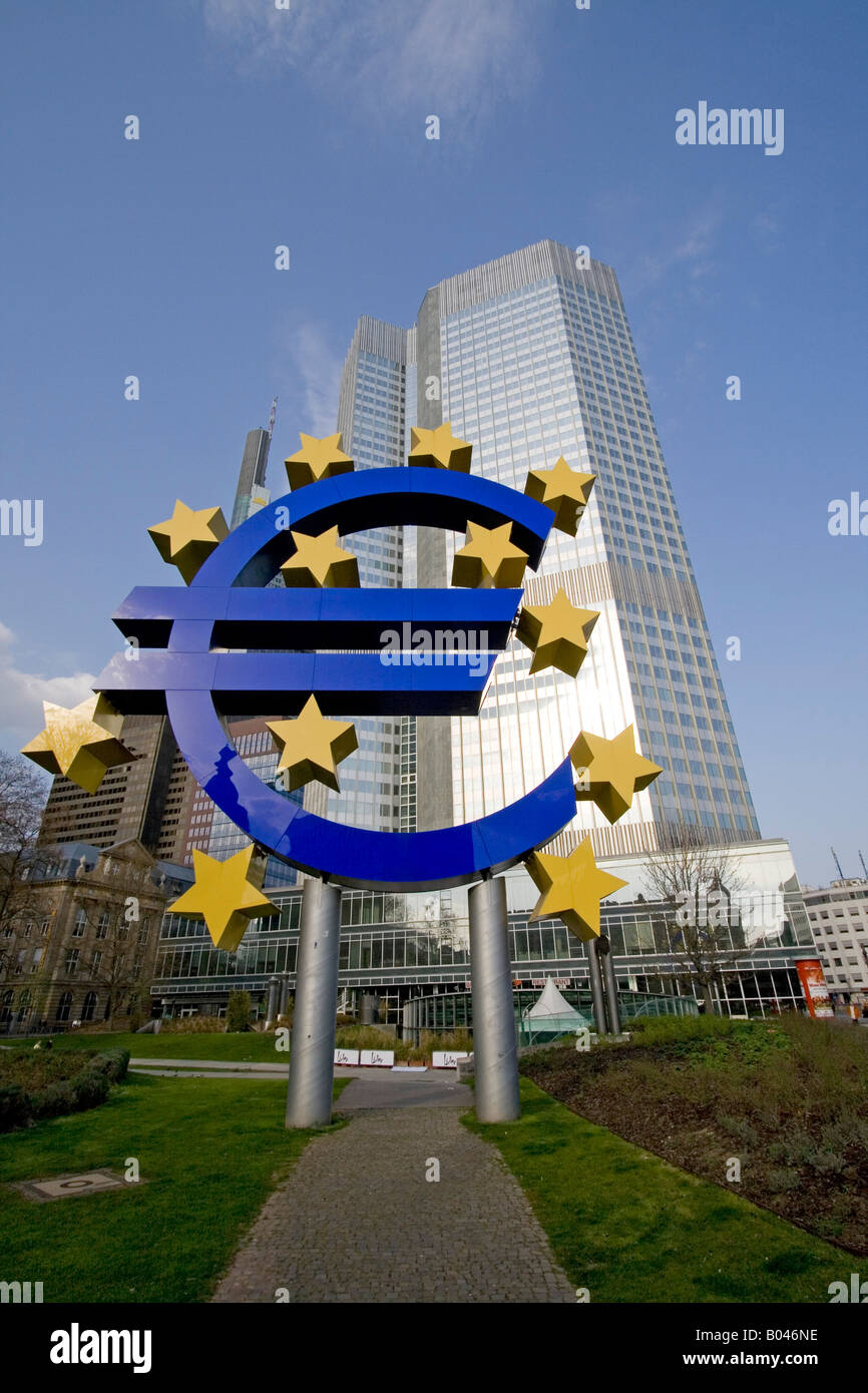 Frankfurt Banking District With Euro Symbol German Central Bank