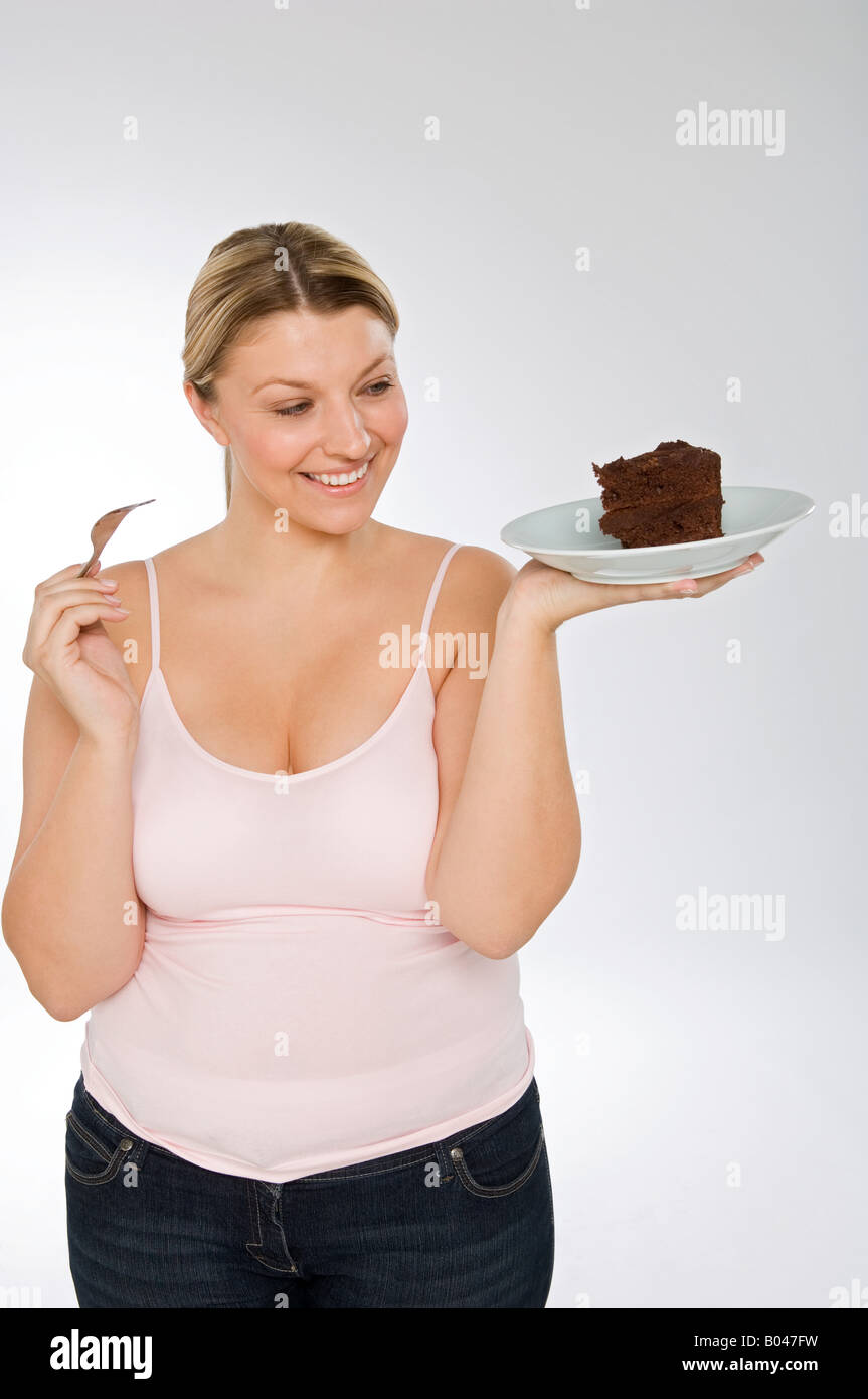 Chubby women eating