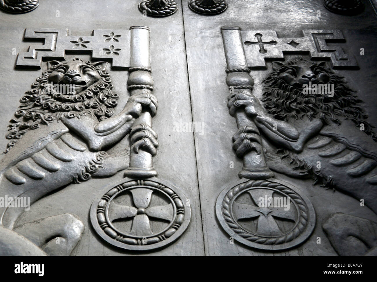 Close up of doors of Bank of England London - Stock Image