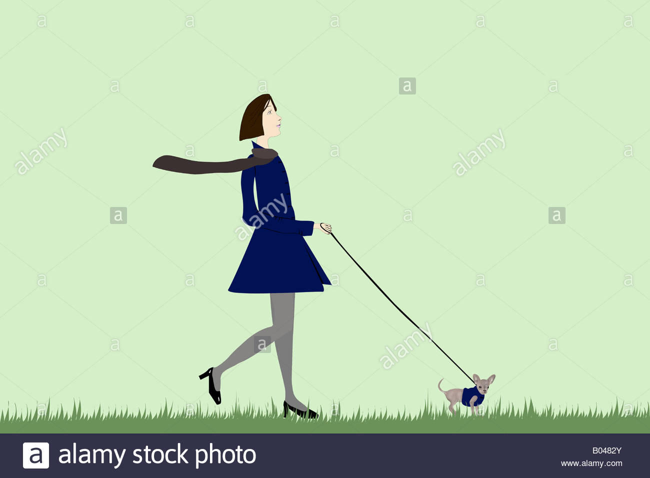 Illustration of a woman walking a dog - Stock Image