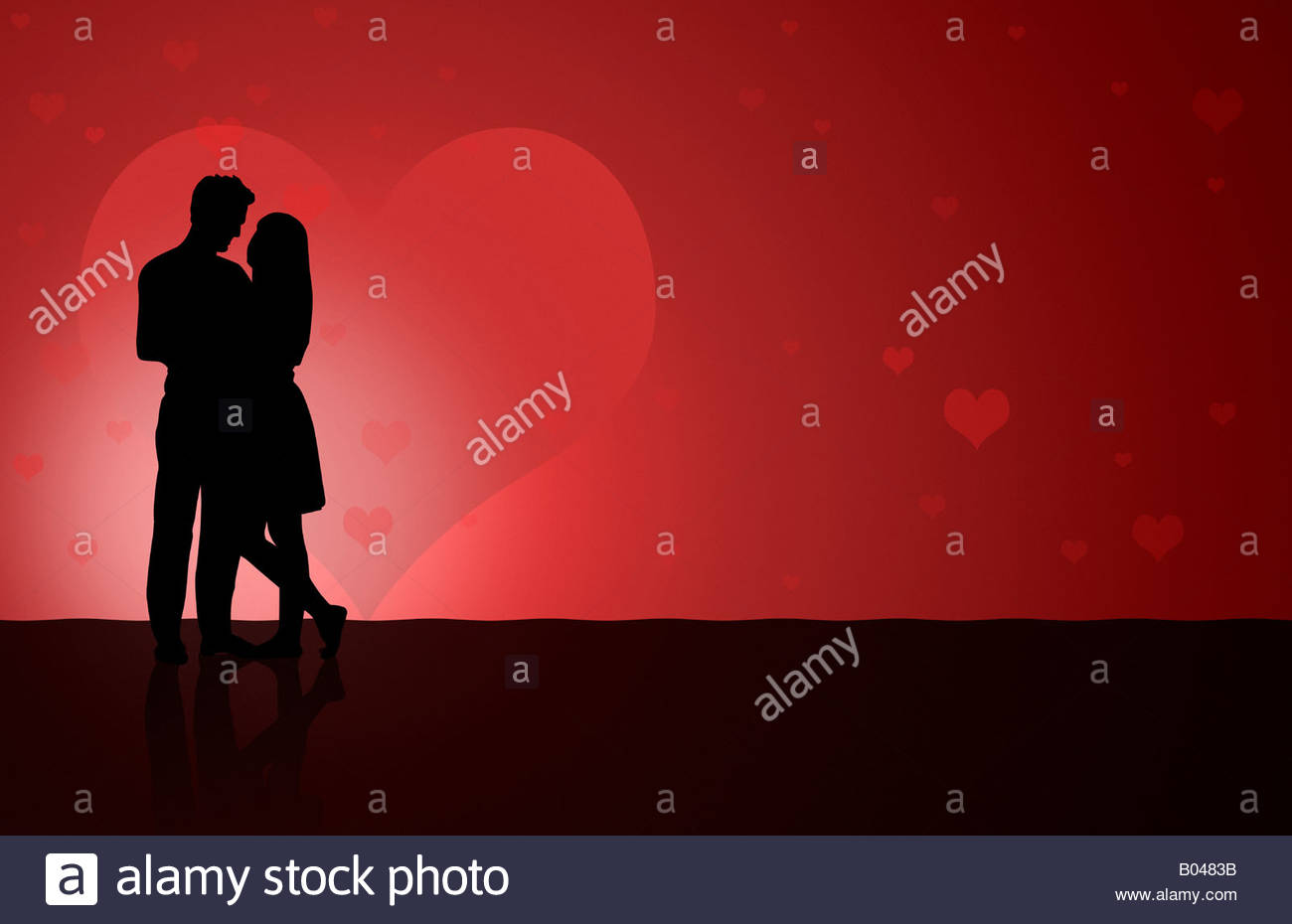 Illustation of a silhouetted couple dancing - Stock Image