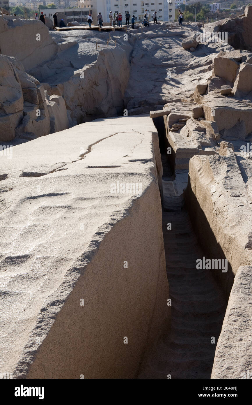 Vertical shot of the Unfinished Obelisk, Northern Quarries, Aswan, Egypt - Stock Image
