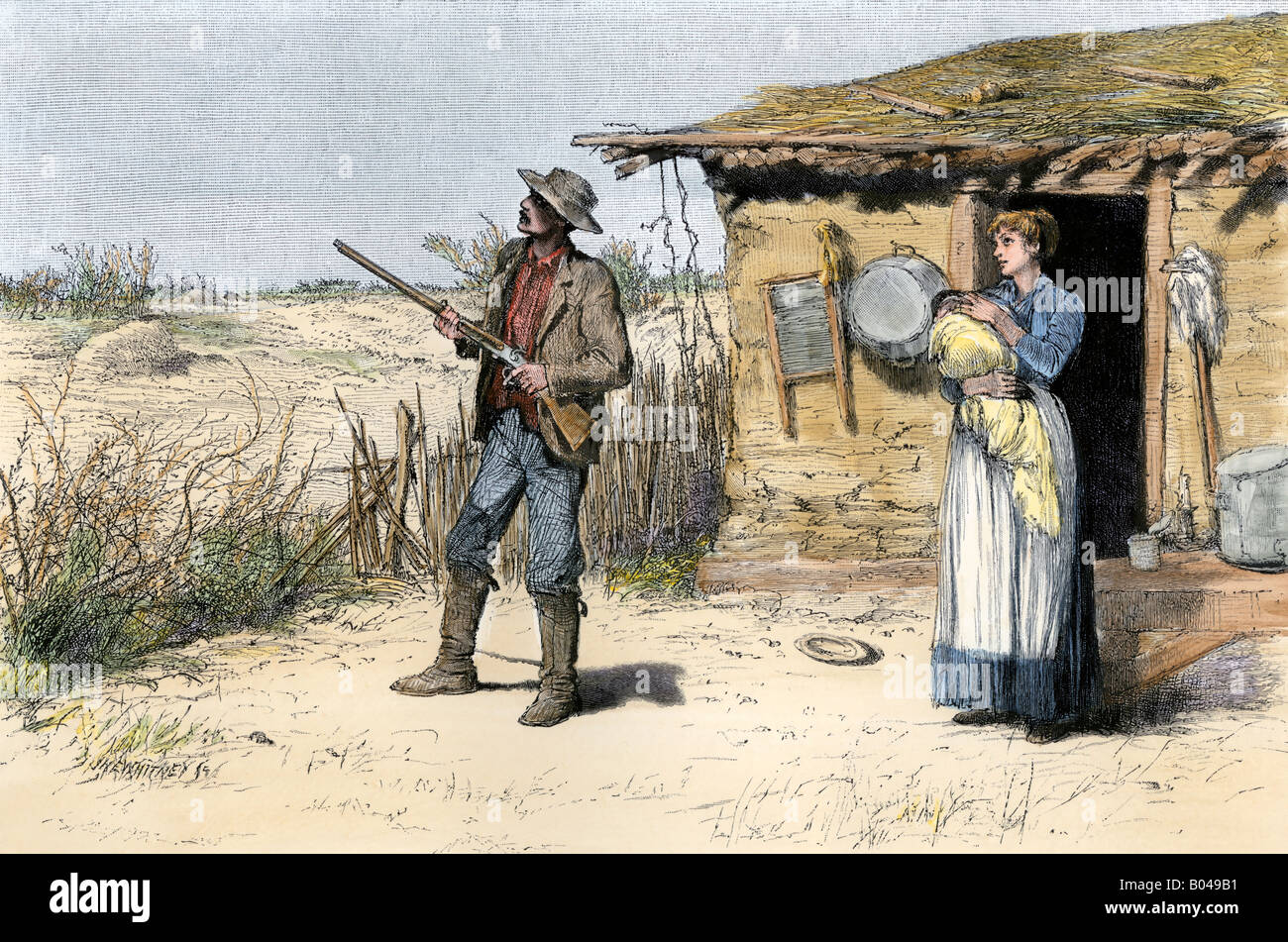 Prairie homestead family preparing for winter at their sod home. Hand-colored woodcut - Stock Image
