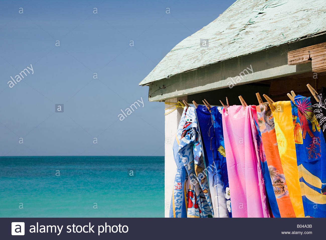 Towels dryng on a clothesline - Stock Image