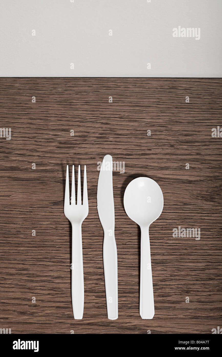 Plastic cutlery - Stock Image
