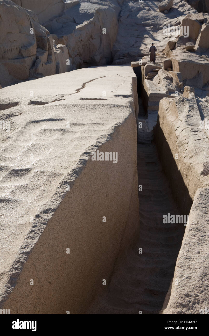 Verical shot of the Unfinished Obelisk, Northern Quarries, Aswan, Egypt - Stock Image