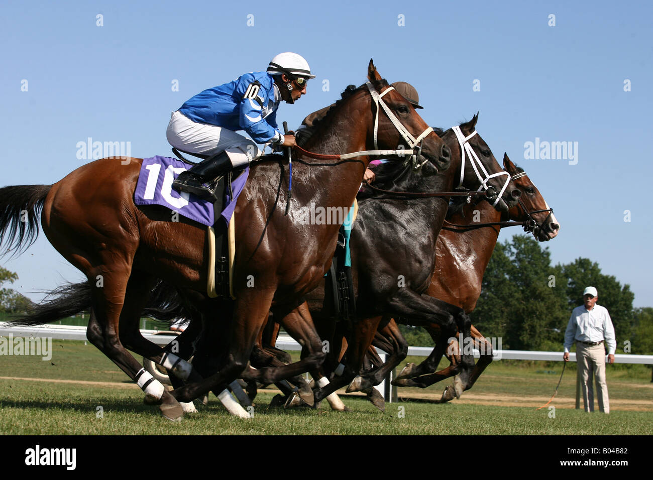 Thoroughbreds action at Monmouth Park in Oceanport New Jersey Photo By William Denver - Stock Image