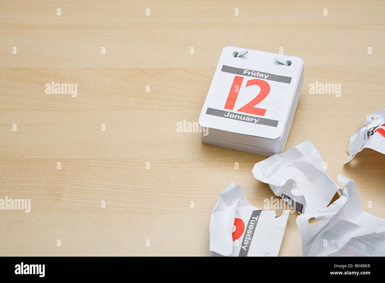 Crumpled calendar pages - Stock Image