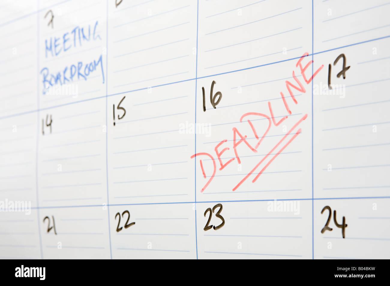 Deadline written on calendar - Stock Image