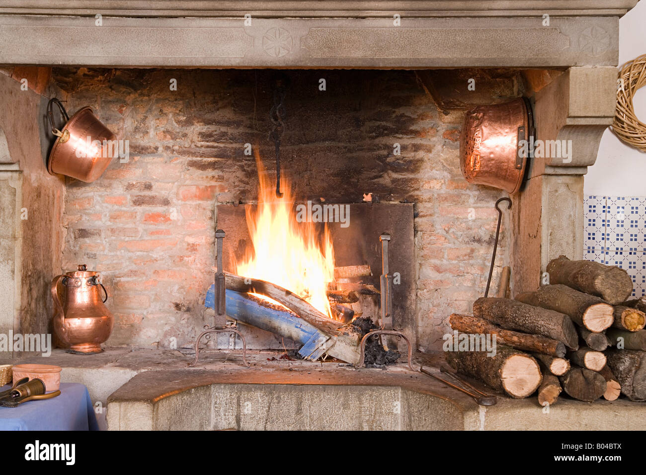 Traditional fireplace - Stock Image