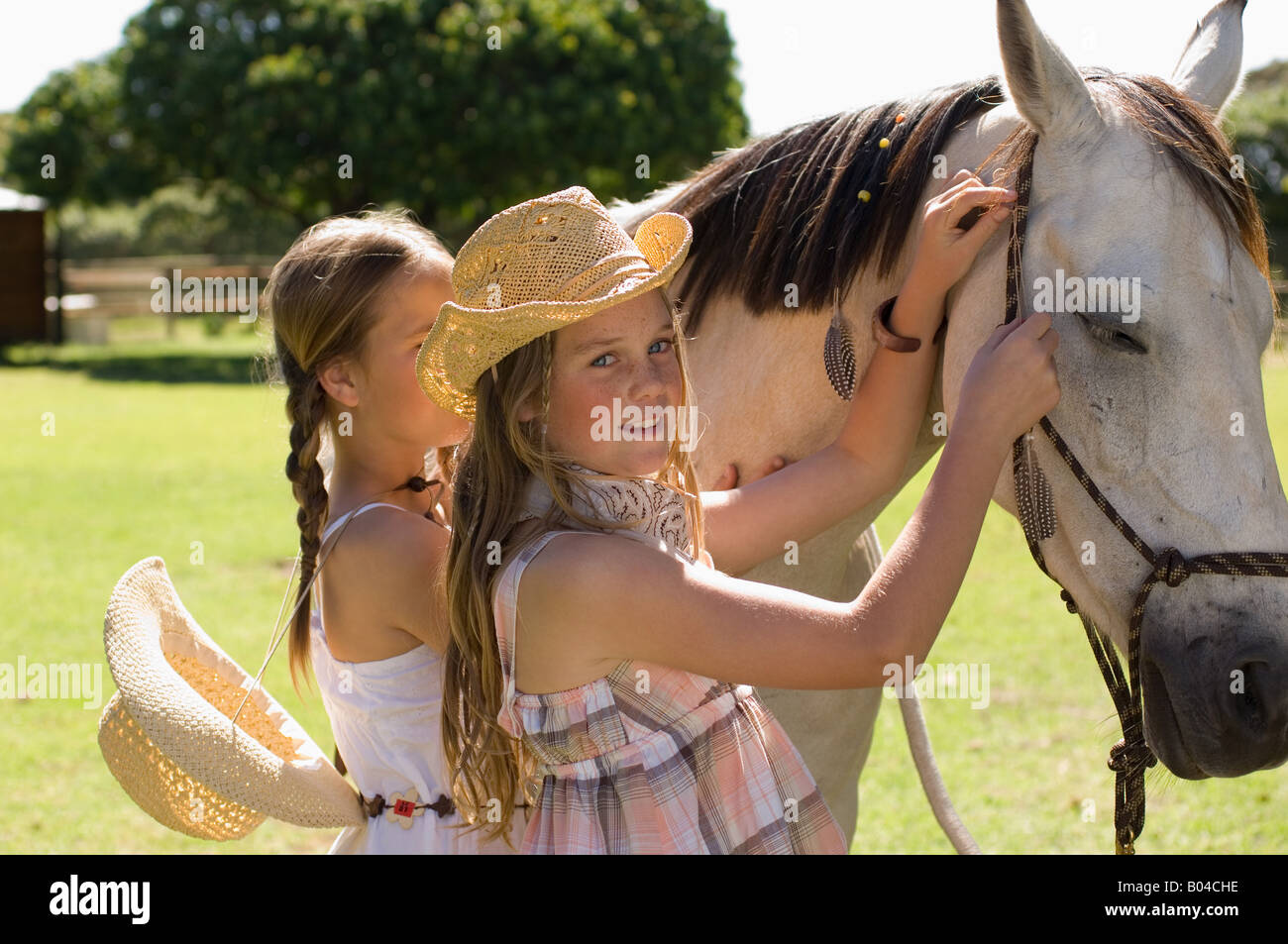 Two girls stroking a horse - Stock Image