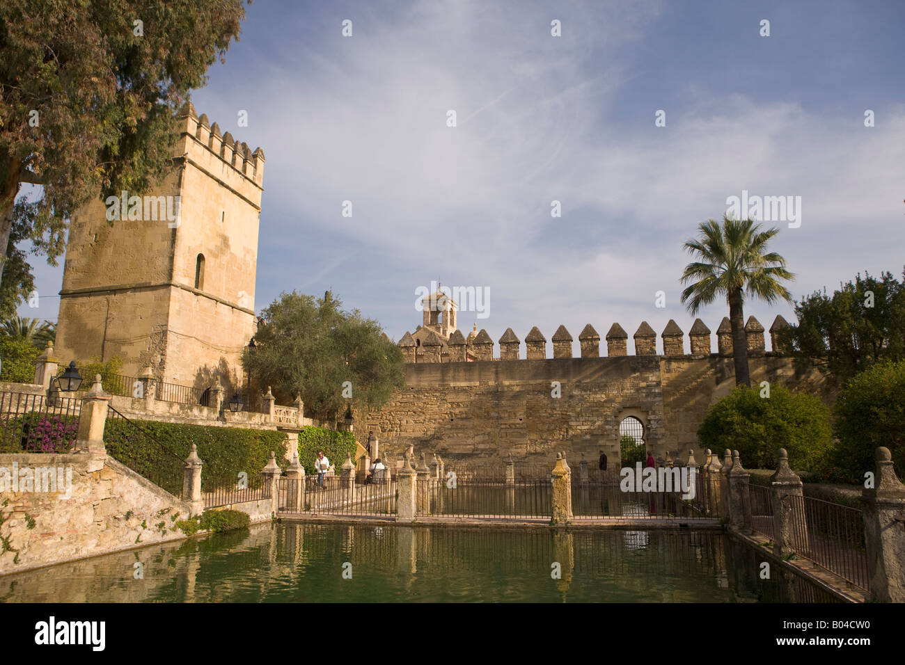 Walls and Towers of the Alcazar de los Reyes Cristianos (Castle of the Christian Monarchs) seen from the Gardens - Stock Image