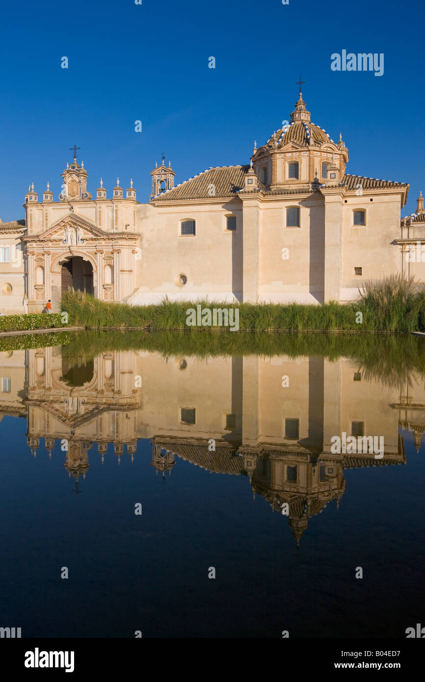 Reflections on a pond in the Jardin de la Cartuja of the Monasterio de Santa Maria de las Cuevas - La Cartuja de - Stock Image