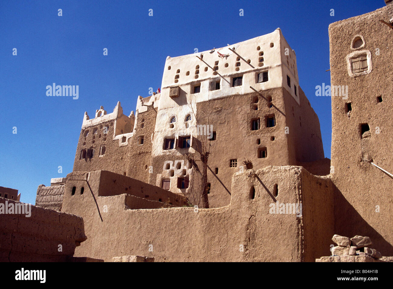Sada Yemen Mud Houses Oasis Town On Edge Of Empty Quarter - Stock Image