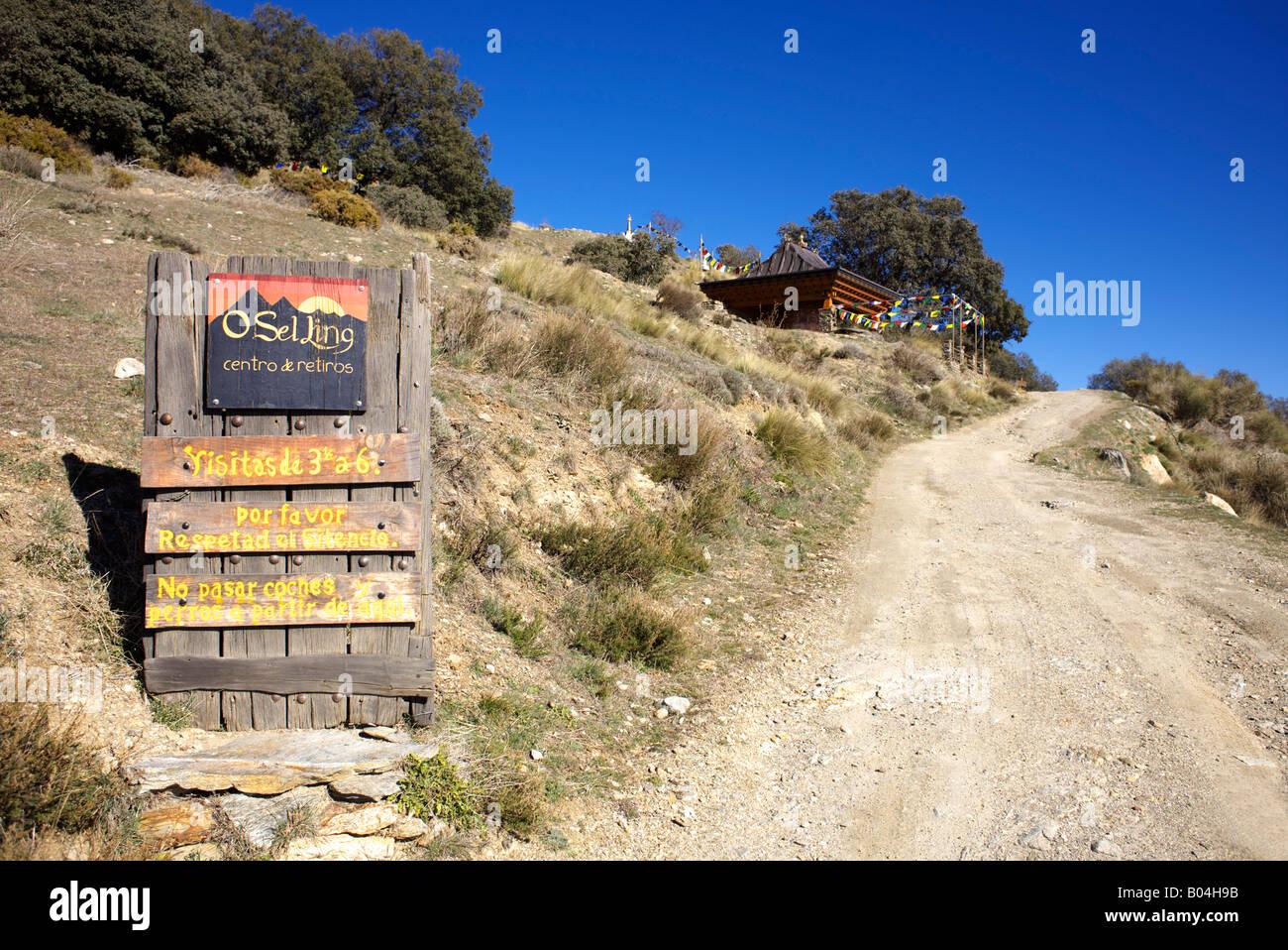O Sel Ling Buddhist Retreat near the village of  Bubion, Las Alpujarras, Granada Province, Spain - Stock Image