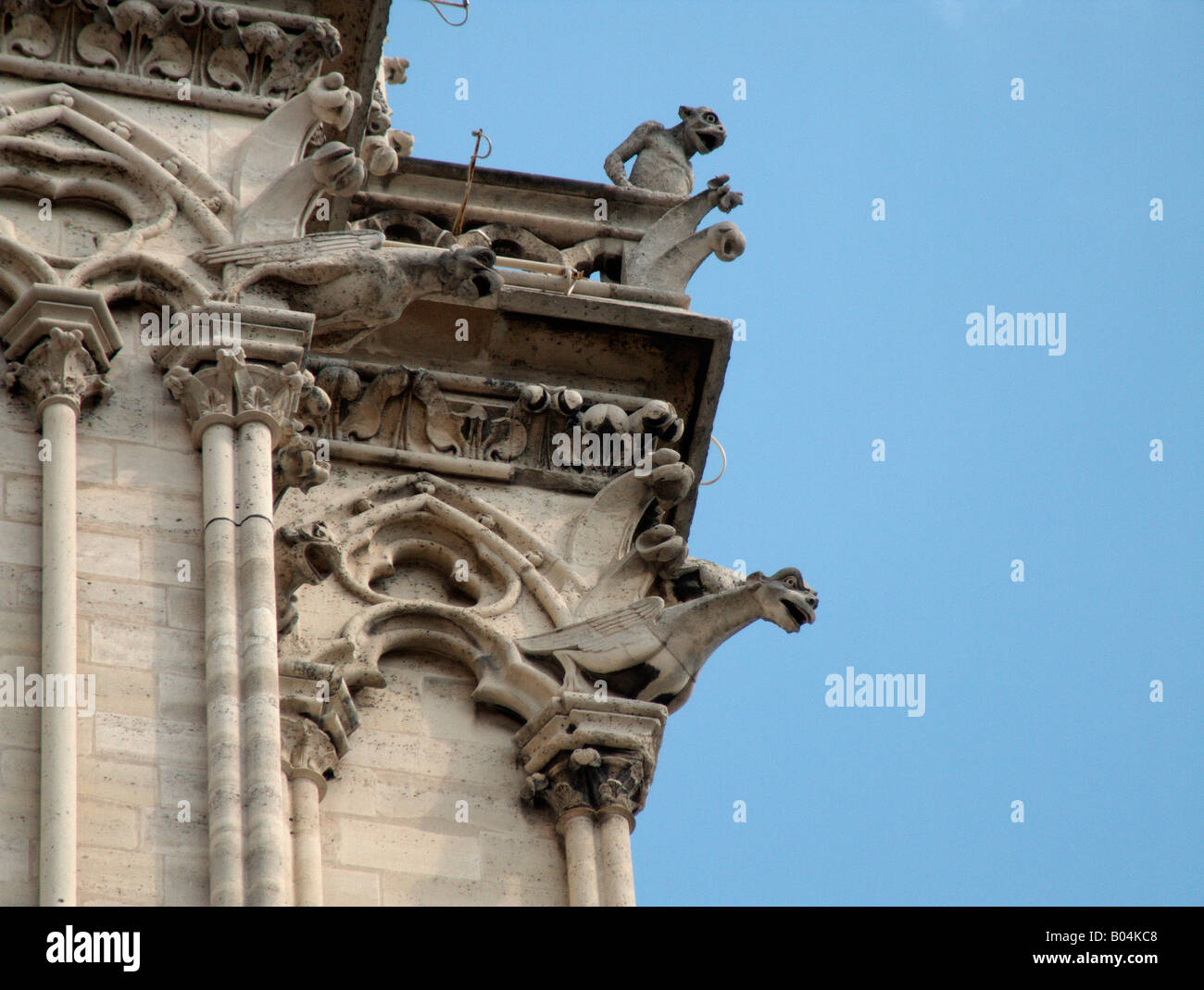 Detail Of Gothic Architecture At The Galerie Des Chimeres Notre Dame De Paris Cathedral France