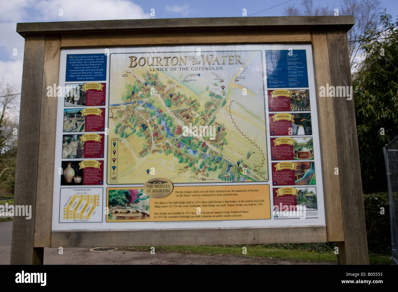 Tourist sign board and map Bourton on the Water Cotswolds UK - Stock Image