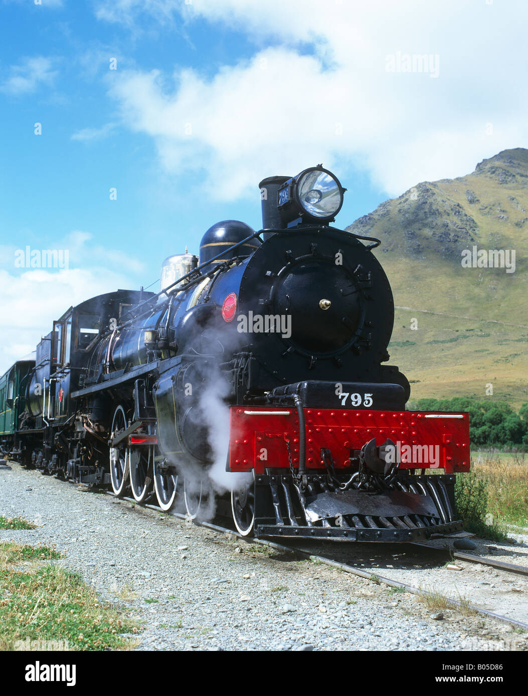 Kingston Flyer Steam Engine, Fairlight station, Otago, New Zealand - Stock Image
