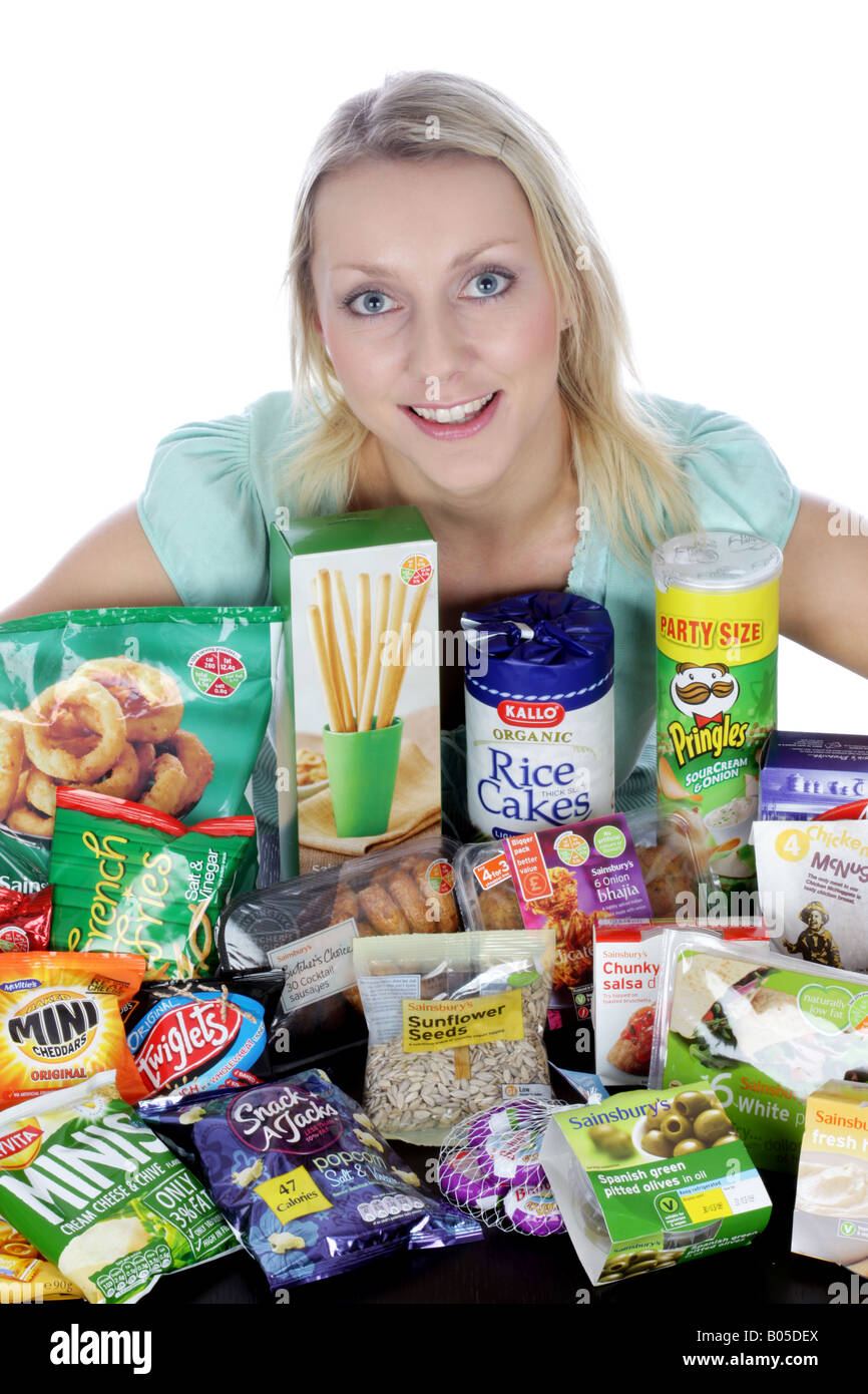 Woman With Snacks - Stock Image