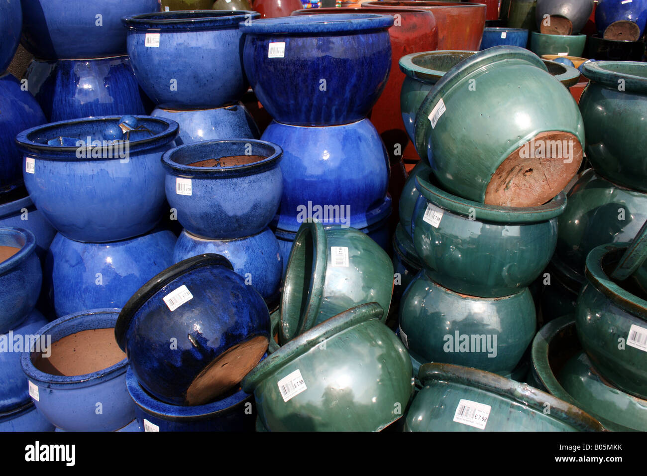 china blue and jade green glazed ceramic garden flower pots stock photo 17336359 alamy. Black Bedroom Furniture Sets. Home Design Ideas