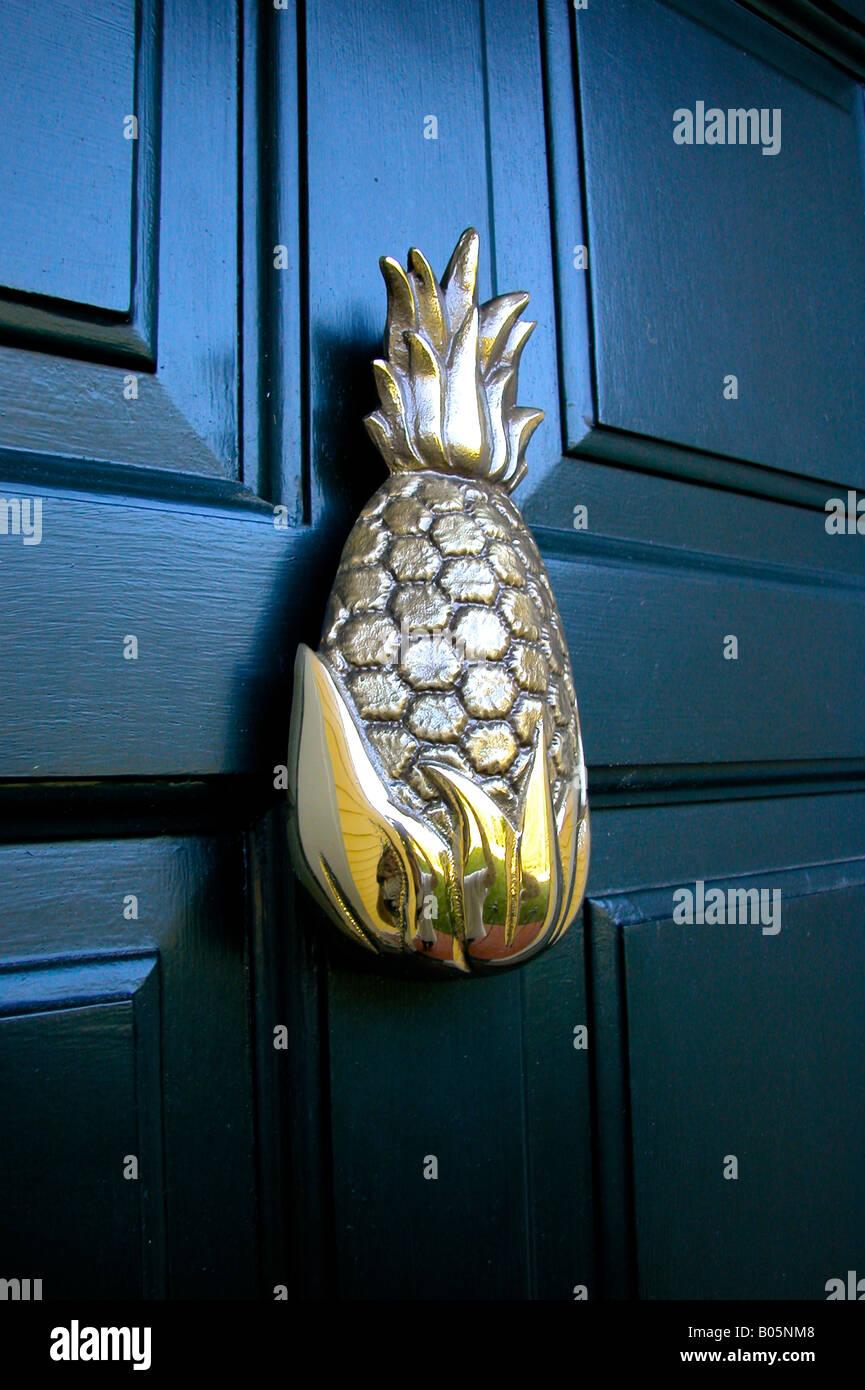 Brass Pineapple Door Knocker   Stock Image