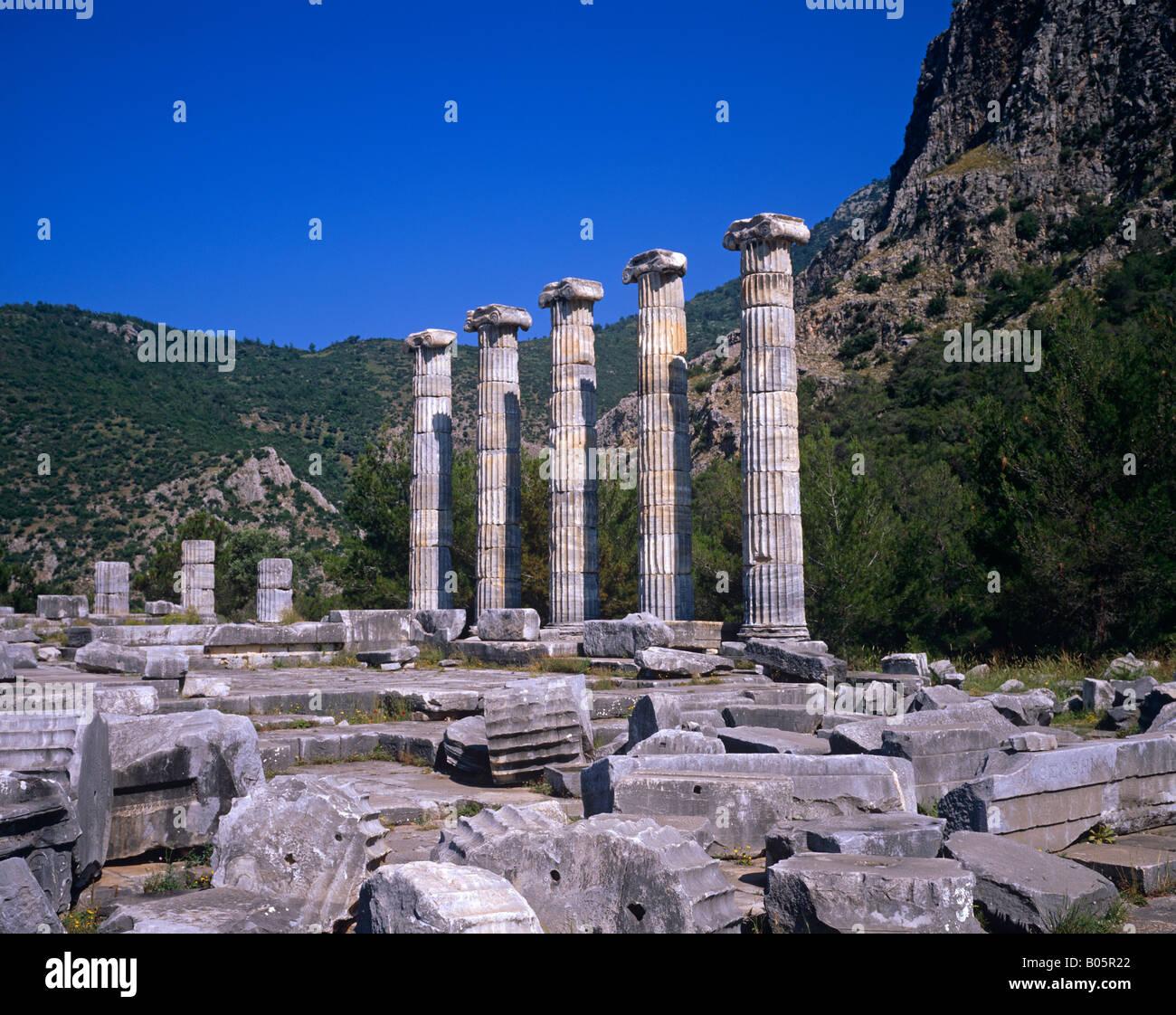 Temple Athena, Polias Priene, Turkey Stock Photo