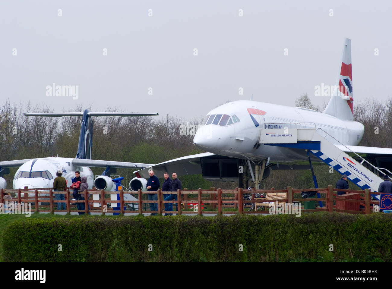 British Airways Concorde G-BOAC and Avro RJ100 on Static Display at Manchester Ringway Airport England United Kingdom - Stock Image