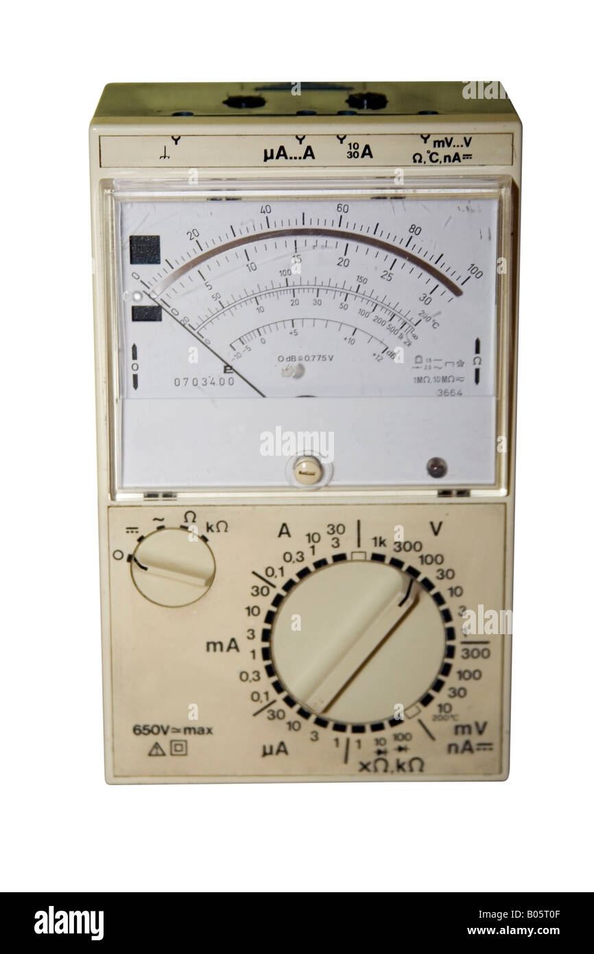 Old universal meter isolated on white. - Stock Image