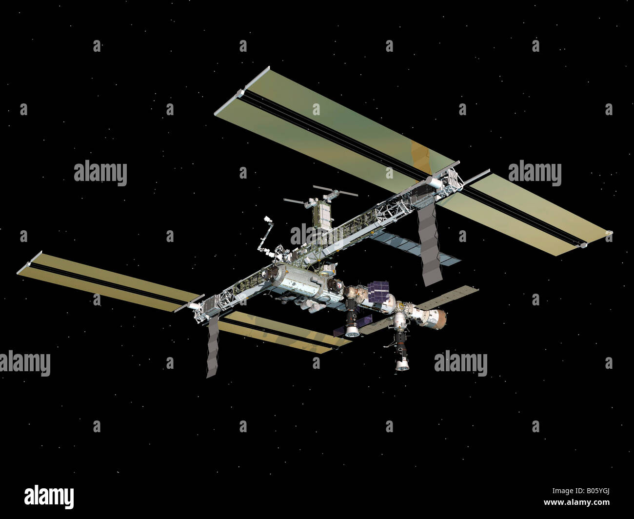 Computer generated view of the International Space Station. - Stock Image
